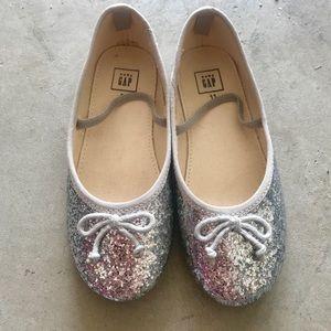 Gap silver glitter ballet flat girl size 11